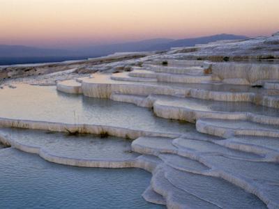 Pools at Sunset, Pamukkale, Unesco World Heritage Site, Anatolia, Turkey by Adam Woolfitt