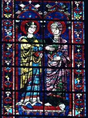 Two Angels in Stained Glass in the Central Choir, Chartres Cathedral, Chartres by Adam Woolfitt