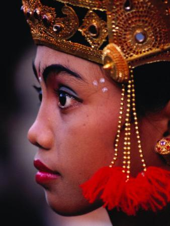 A Young Rejang Dancer Waits in Line for Her Turn to Dance Pendet, Indonesia