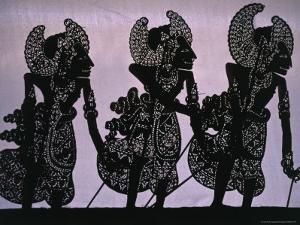 Silhouette of the Pandawa Brothers, Characters in a Traditional Wayang Kulit Play, Indonesia by Adams Gregory