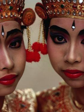 Twin Sisters in Legong Costumes Make a Perfect Matched Pair, Indonesia by Adams Gregory