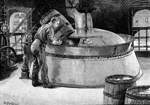 Adding Hops to Boiling Beer in an American Brewery, 1885