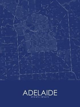 Adelaide, Australia Blue Map
