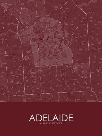 Adelaide, Australia Red Map
