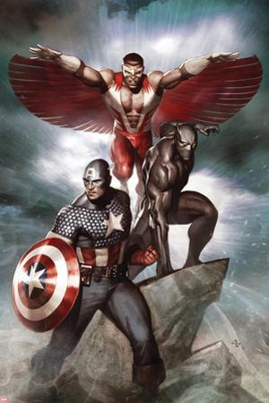 Captain America: Hail Hydra No.3 Cover: Captain America, Black Panther, and Falcon
