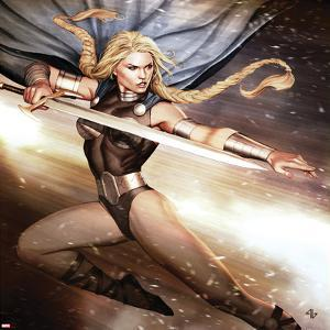 Secret Avengers No.14 Cover: Valkyrie Jumping with a Sword by Adi Granov