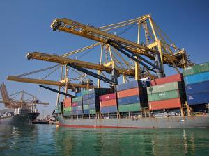 Container Port, Port of Barcelona, Barcelona, Catalonia, Spain, Europe by Adina Tovy