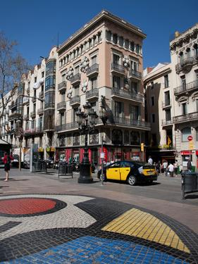 Pavement Mosaic by Joan Miro on Las Ramblas, Barcelona, Catalonia, Spain, Europe by Adina Tovy