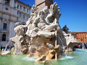 The Four Rivers Fountain in Piazza Navona, Rome, Lazio, Italy, Europe by Adina Tovy
