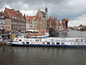 View Along River Motlawa Showing Harbour and Old Hanseatic Architecture, Gdansk, Pomerania, Poland by Adina Tovy
