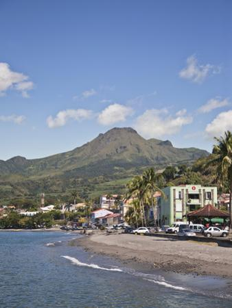 View of Saint-Pierre Showing Mount Pelee in Background, Martinique, Lesser Antilles, West Indies