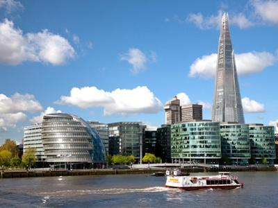 View of the Shard, City Hall and More London Along the River Thames, London, England, UK
