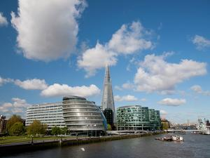 View of the Shard, City Hall and More London Along the River Thames, London, England, UK by Adina Tovy