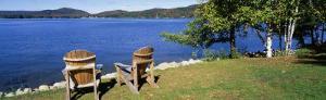Adirondack Chairs on a Lawn, Fourth Lake, Adirondack Mountains, Adirondack State Park, NY, USA