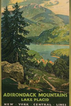 Adirondack Mountains, Lake Placid, Railroad Poster