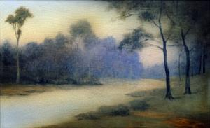 An Earthenware Scenic Plaque by Rookwood, Depicting a View of a River and Wooded Banks, 1917 by Adler & Sullivan