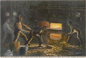 Stokers at Work in the Hold of a Coal-Burning Steamship by Adolf Bock
