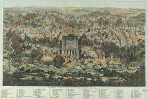 The Jerusalem Map (Vue Générale De Jérusalem Historique Et Modern), Ca 1862 by Adolf Eltzner