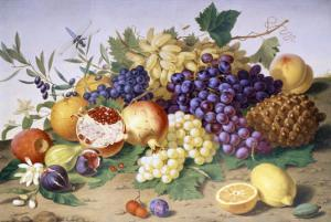 Still Life of Grapes, Pineapple, Figs and Pomegranates by Adolf Senff
