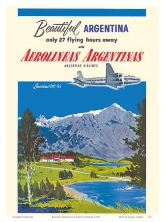 Beautiful Argentina - Aerolineas Argentinas (Argentina Airlines) - Luxurious Douglas DC-6s by Adolph Treidler