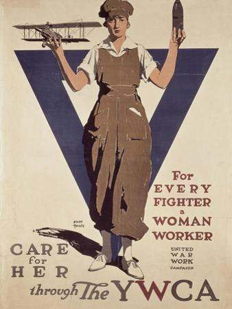 For Every Fighter a Woman Worker, 1st World War Ywca Propaganda Poster by Adolph Treidler
