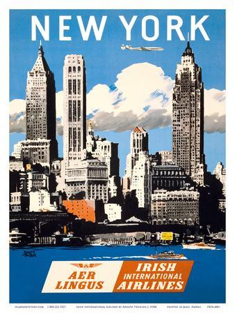 New York, USA - Skyline of Manhattan - Aer Lingus (Irish International Airlines)