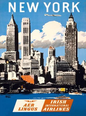 New York, USA - Skyline of Manhattan - Aer Lingus (Irish International Airlines) by Adolph Treidler