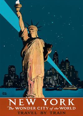 New York, USA - The Wonder City of the World - Statue of Liberty - Travel by Train by Adolph Treidler