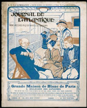Journal De L'Atlantique, Ship's Newspaper for the 3rd Day of the Atlantic Crossing by La Lorraine by Adolphe Cossard