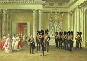 The Heraldic Hall in the Winter Palace, St Petersburg, 1838 by Adolphe Ladurner