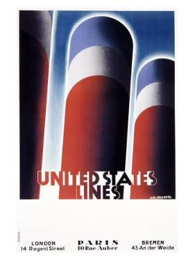 United States Line by Adolphe Mouron Cassandre