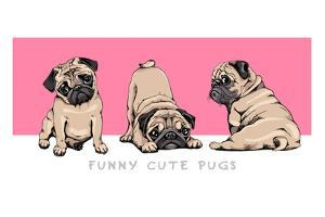 Adorable Beige Pug Puppies on a Pink Background. Humor Set, Hand Drawn Style Print. Vector Illustra