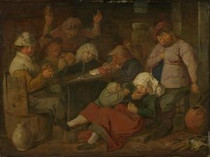 Peasant Drinking About by Adriaen Brouwer