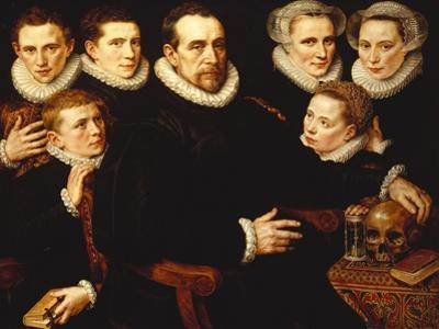 A Group Portrait of a Gentleman Aged 57 by Adriaen Thomasz Key