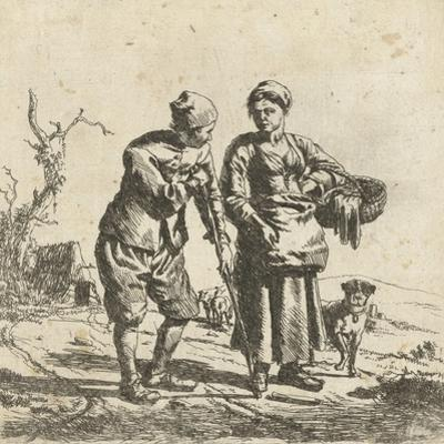 Farmer and his wife in conversation by Adriaen van de Velde