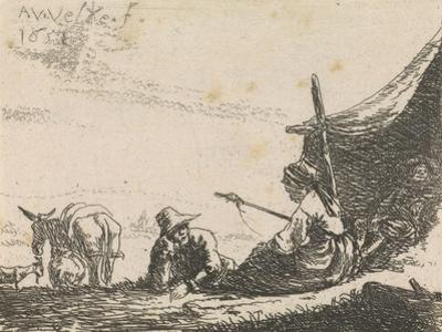 Figures by a tent, 1653 by Adriaen van de Velde