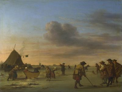 Golfers on the Ice Near Haarlem, 1668 by Adriaen van de Velde