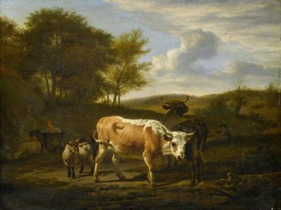 Hilly Landscape with Cows by Adriaen van de Velde
