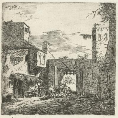 Inn at city gate, 1653 by Adriaen van de Velde