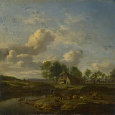 Landscape with a Farm by a Stream, 1661 by Adriaen van de Velde