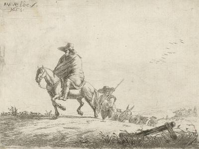 Rider and herdsman with cattle on a dirt road, 1653