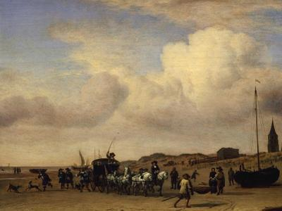 The Beach at Scheveningen, Holland by Adriaen van de Velde