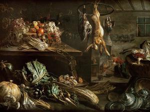 Kitchen Interior with Still Life, Maid by the Fire by Adriaen van Utrecht