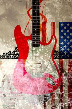Electric Guitar Against Abstract Background and American Flag by Adrian Bradbury