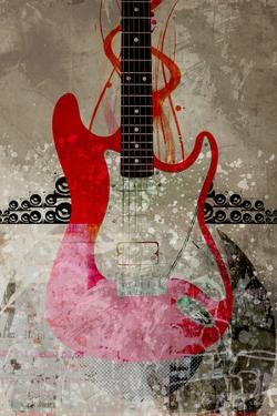 Electric Guitar Against Abstract Background by Adrian Bradbury