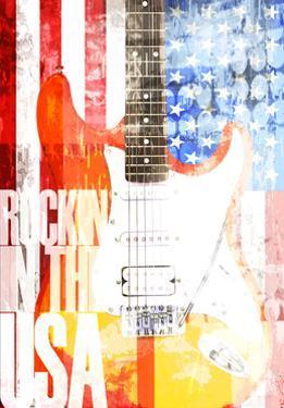 Electric Guitar Against American Flag by Adrian Bradbury