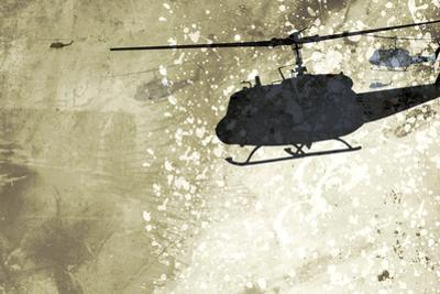 Silhouette of Helicopter Against Wall
