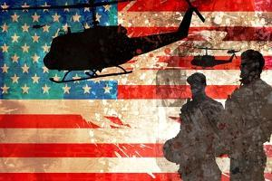 Silhouettes of Soldiers and Helicopters Against American Flag by Adrian Bradbury