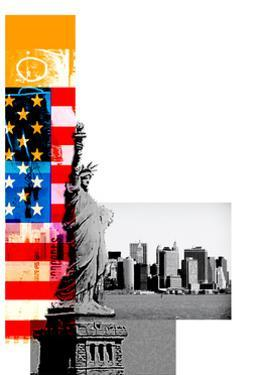 Statue of Liberty, American Flag and Cityscape on White, New York City, New York, USA by Adrian Bradbury