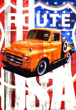 Truck Against American Flag by Adrian Bradbury